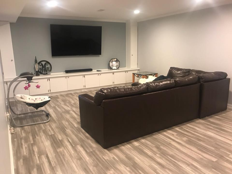 Gray basement Dublin Ohio