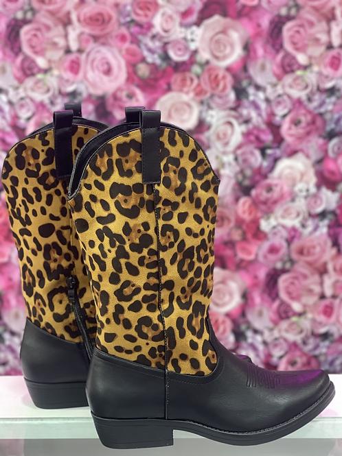 Bota cowboy leopardo