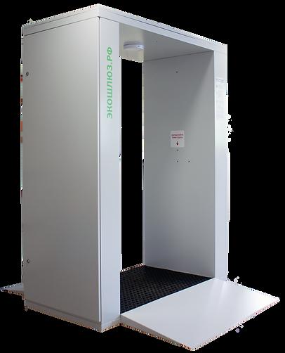 ЭкоШлюз – это установка для эффективной и безопасной дезинфекции человека. За 3-5 секунд дезинфицирующий туман обезвредит до 99% вирусов и бактерий на поверхности человека.