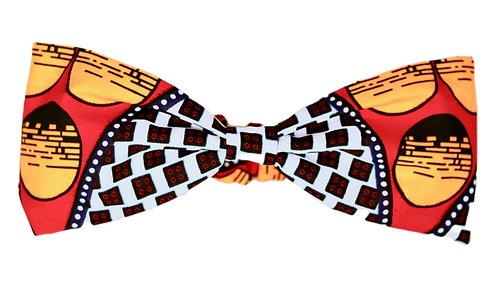 Black, white, yellow & red bow headband