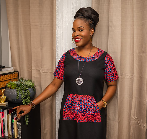 """""""Prosper"""" African print Maxi dress with front pockets"""