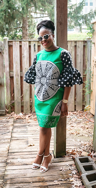 """""""Resilient"""" African print shift dress with flare sleeves"""