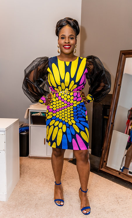 """""""Kindness"""" African print dress with puff sleeves"""