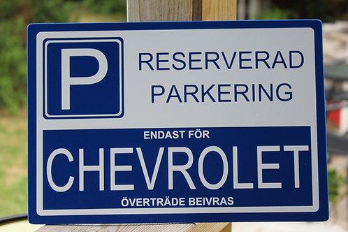 Reserverad Parkering Hårdplast