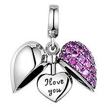 I Love You Charm - Silver Heart Crystal Charm