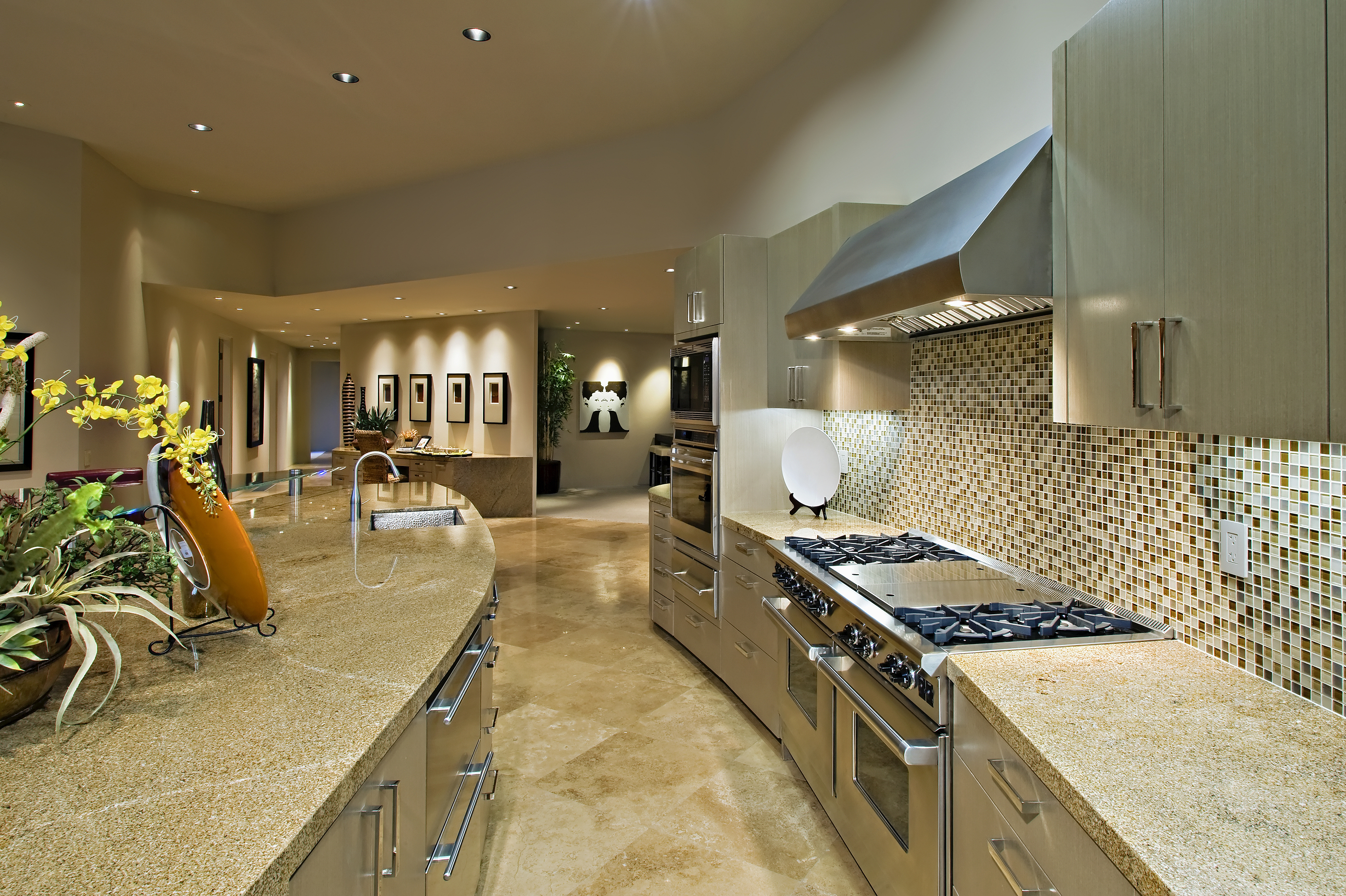 Open plan kitchen with living room in modern house