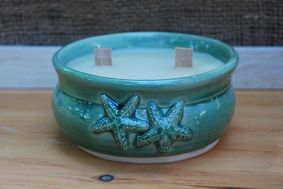 Large Green Double Starfish Citronella Candle