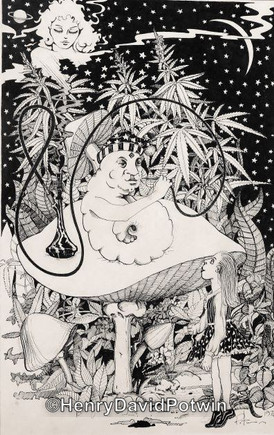 """Alice and the Caterpiller - 1970-80 12X18"""""""