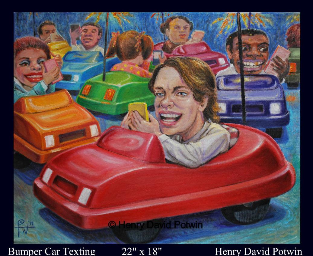 """Bumper Car Texting  - 2010 22X18"""""""
