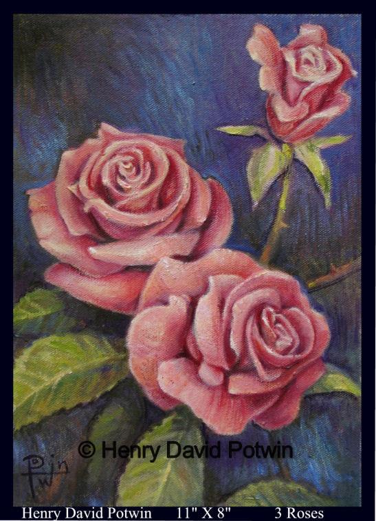 """3 Roses - 11 X 8   2008  - 2008 11X8"""""""