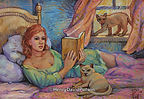 Girl Reading Cats Watching