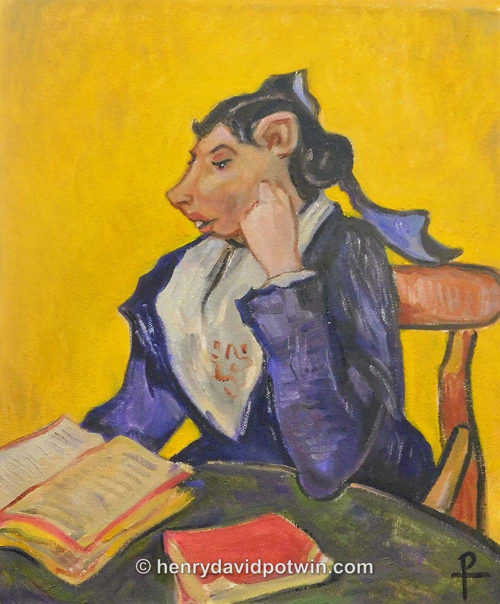 Madame Gerbil with Books (after Vincent Van Gogher)