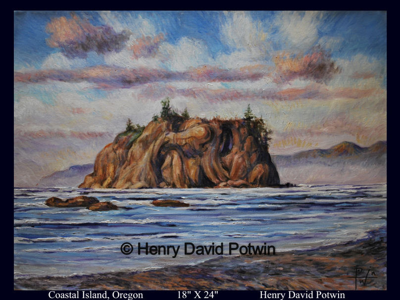 Coastal Island Oregon  - 2009 18X24""