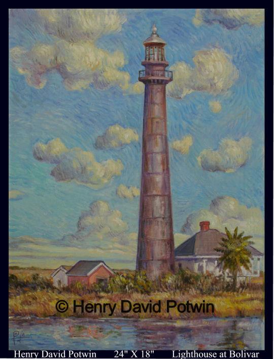 "Lighthouse at Bolivar  - 2008 24X18"""