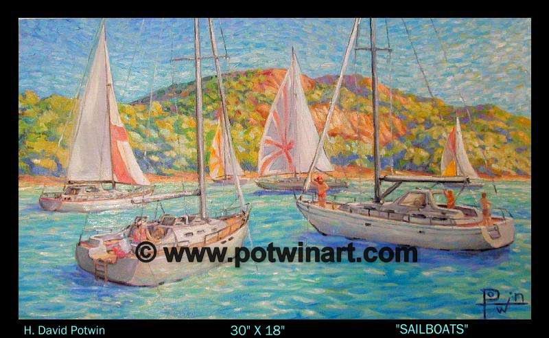 "Sailboats  - 1990's 30X18"""