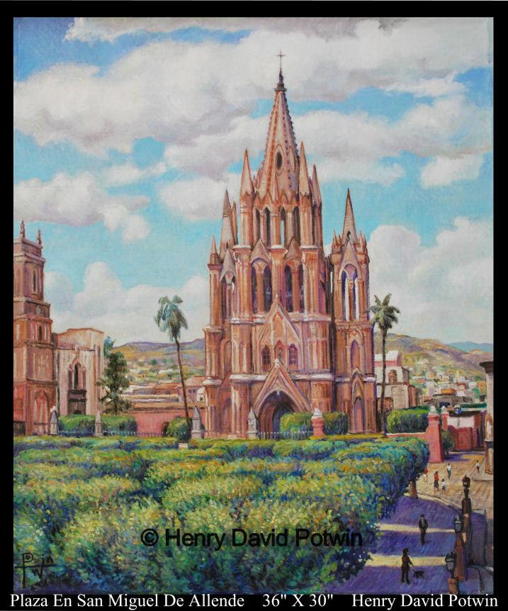 """Plaza en San Miguel Del Allende  - 2009 36X30"""""""