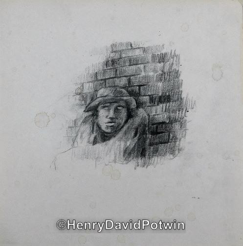 """Untitled (man at wall)  -  10X10"""""""