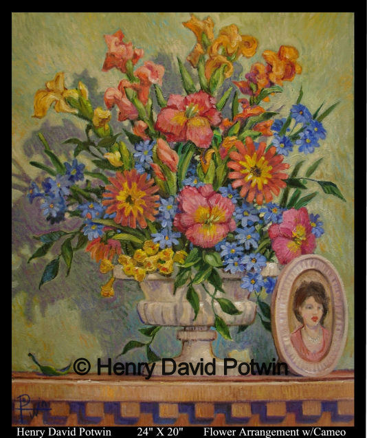 Flower Arrangement with Cameo