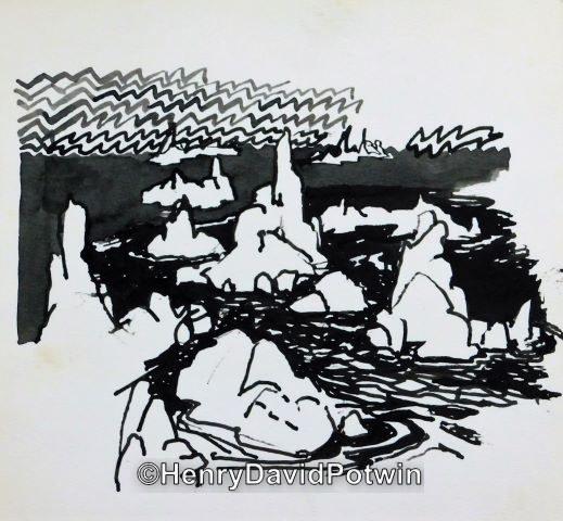 "Untitled (rocky coast)  -  8X9"""