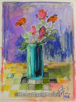 1988 Flowers Aquarelle
