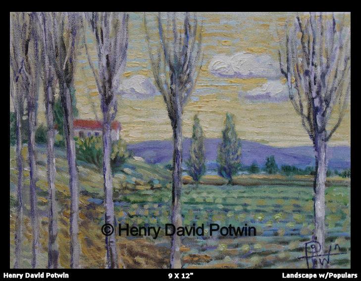 "Landscape w/ Poplars  - 2006 9X12"""