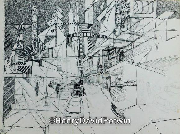 "Untitled (unfinished cityscape)  -  12X16"""