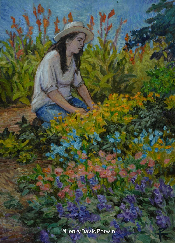 """Girl in a Garden - 2015 22X16"""""""