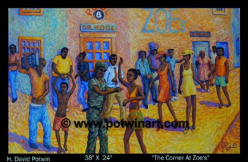 "The Corner at Zoe's  - 1990's 38X24"""