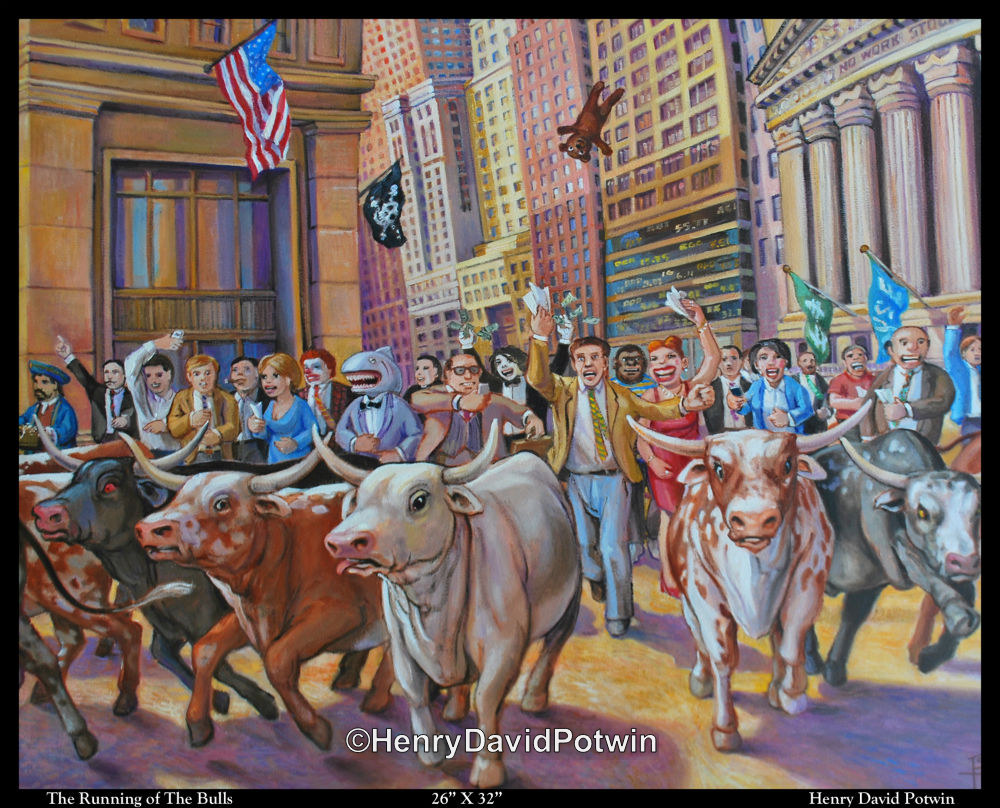 The Running of the Bulls - 2012 26X32""