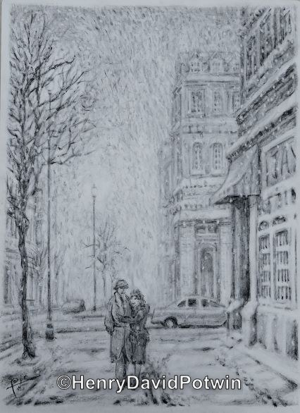 Lovers With Snow Falling