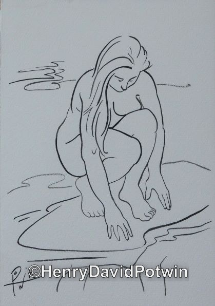 Woman at Stream -  10X7""