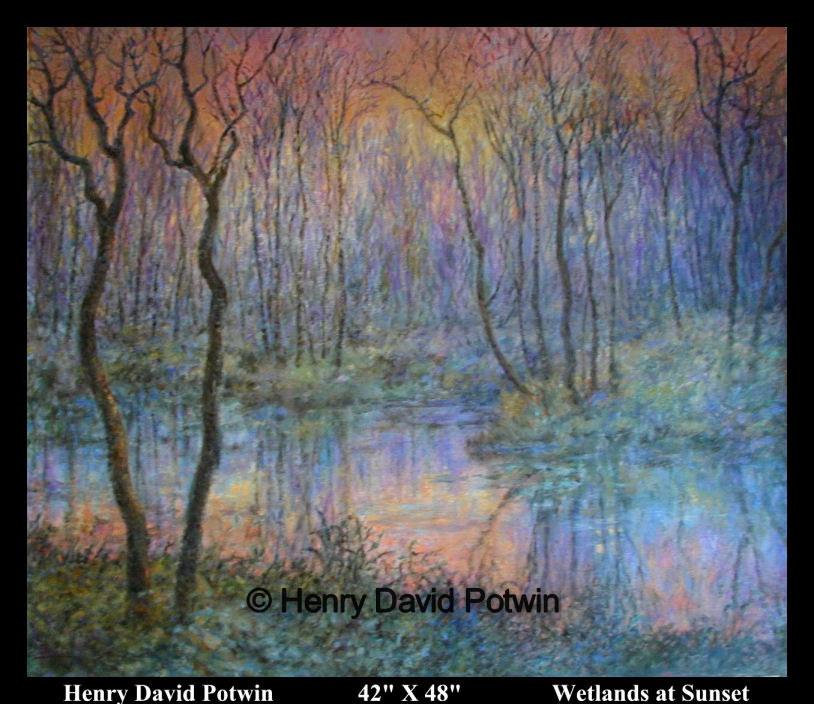"Wetlands at Sunset  - 2000-2001 42X48"""
