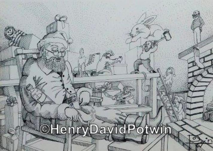 """Santa and Elves Christmas Card -  14X10"""""""