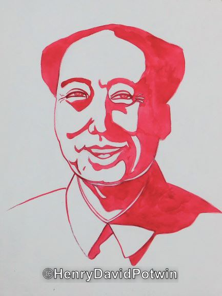 Untitled (Smiling Red Mao) -  12X9""