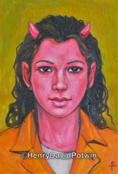 """Devil in Orange Junpsuit - 2015 22X30"""""""