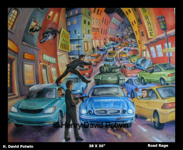 """Road Rage  - 1990's 38X30"""""""