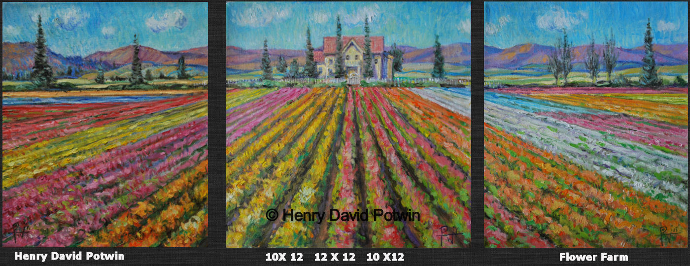 Flower Farm 3 Panels  - 2009 12X32""