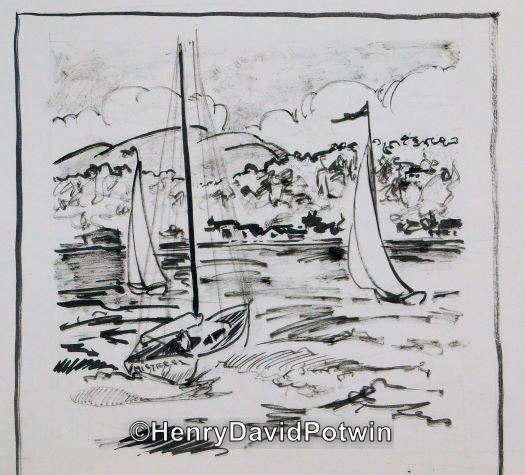 "Untitled (sail boats) -  9X9"""