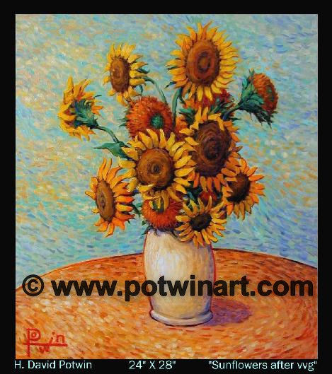 Sunflowers after vvg  - 1990's 24X28""