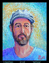 Henry David Potwin Self Portrai ith Blue Ha