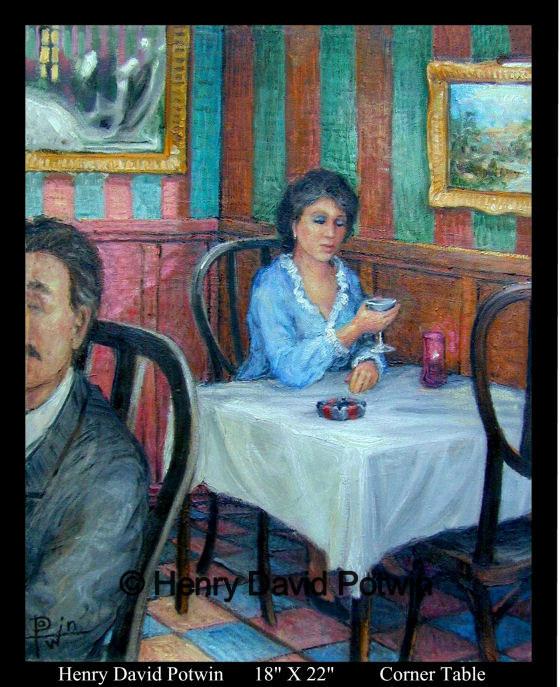 """Corner Table  - 1990's 18X22"""""""
