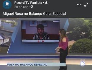 Entrevista de Miguel Rosa para Tv Record interior paulista
