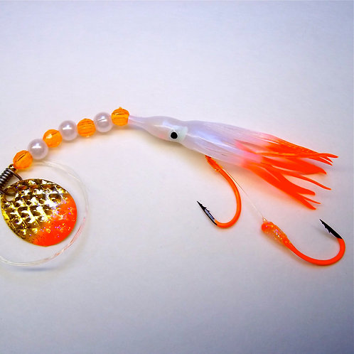 UV Pearl & Orange Spinner 1 3/4 Inch