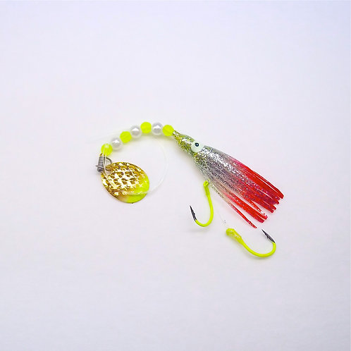 Silver Glitter Chartreuse & Red Spinner 1 3/4 Inch