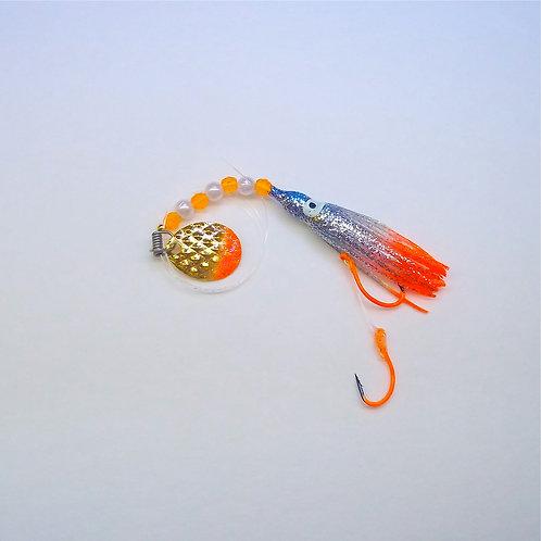 Silver Glitter Blue & Orange Spinner 1 3/4 Inch