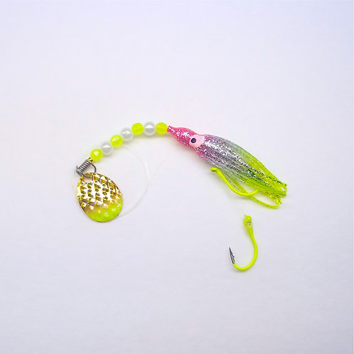 Silver Glitter Pink & Chartreuse Spinner 1 3/4 in.