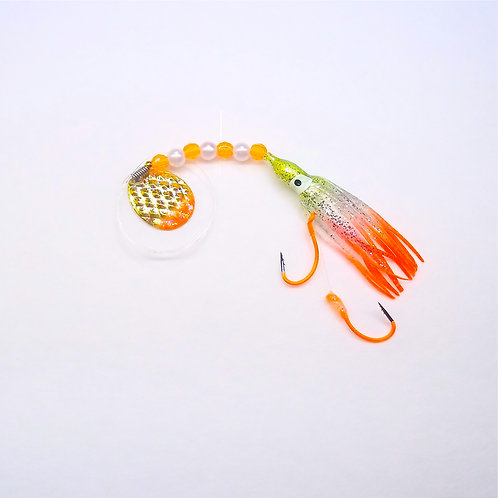 Silver Glitter Chartreuse & Orange Spinner 1 3/4""