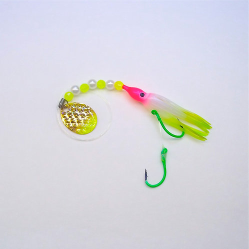 UV Pearl Pink & Lime Spinner 1 3/4 Inch