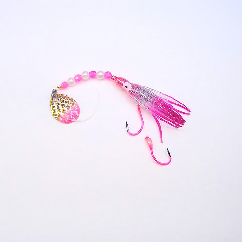 Silver Glitter Pink & Purple Spinner 1 3/4 Inch