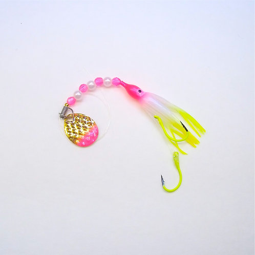 UV Pearl Pink & Chartreuse Spinner 1 3/4 Inch